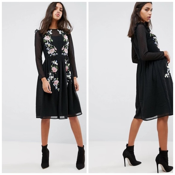 ASOS Embroidered Black Midi Dress Size 16